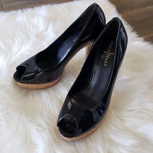 B2G1 Cole Haan Nike Air Black Patent Peep Heels
